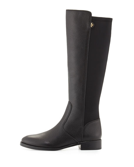 Selden Pebbled Leather Riding Boot, Black