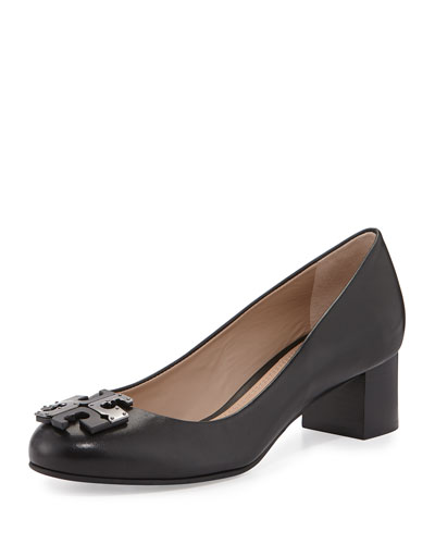 Lowell Leather Logo Pump, Black