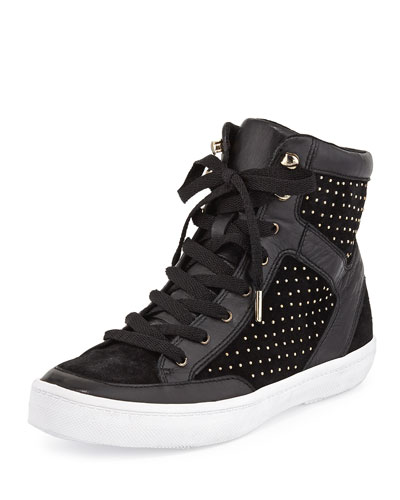 Smith Studded Leather High-Top Sneaker, Black
