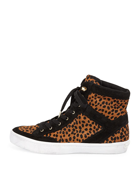 Smith Calf-Hair High-Top Sneaker, Leopard