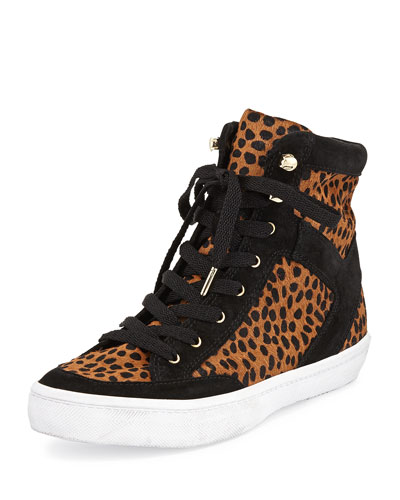 Smith Calf-Hair High-Top Sneaker, Leopard