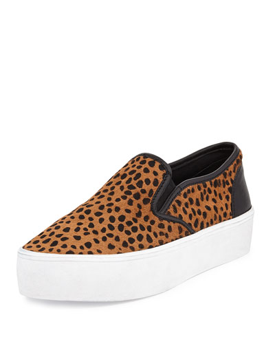 Sloane Calf-Hair Slip-On Sneaker, Leopard