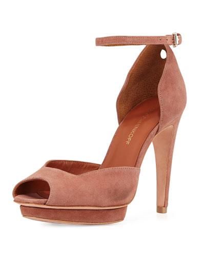 Ivy Suede Peep-Toe Sandal, Burnt Sienna