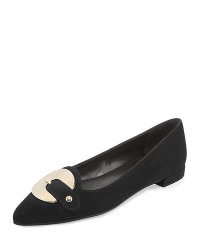 Saucersonic Suede Ornament Flat, Black
