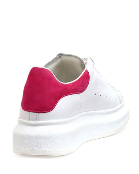 Leather Lace-Up Platform Sneaker, White/Pink