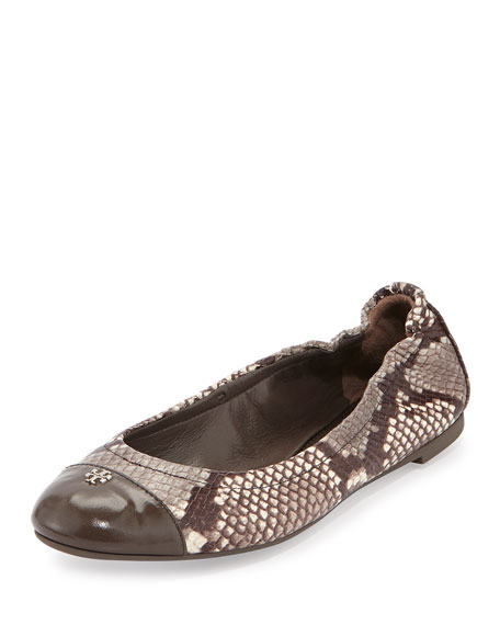 Tory Burch York Snake-Print Ballet Flat, Black/White