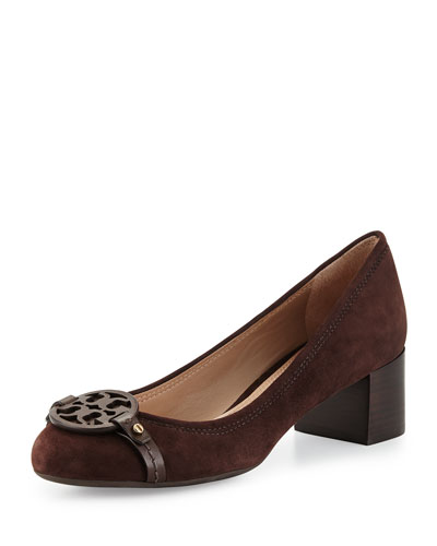 Mini Miller Suede Logo Pump, Coconut