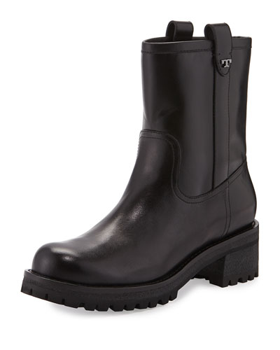 Foster Leather Lug Sole Boot, Black