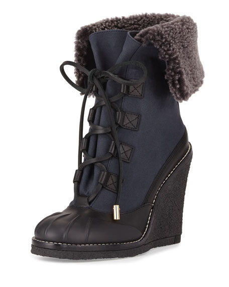 Tory Burch Fairfax Fur-Lined Wedge Boot, Black/Washed Navy