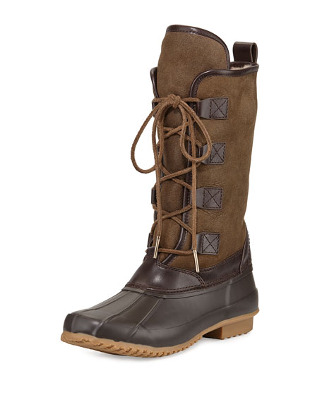 Tory Burch Argyll Shearling-Lined Lace-Up Boot, New Olive/Latte
