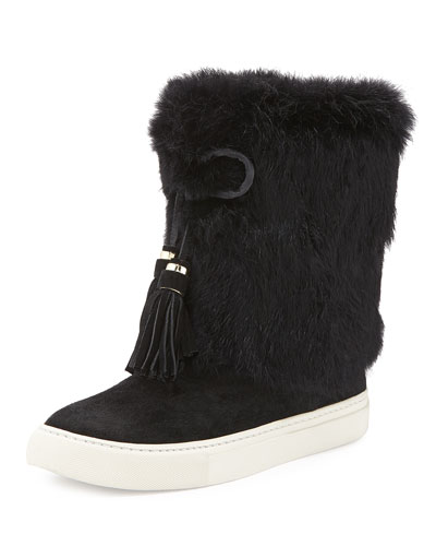 Anjelica Fur-Cuff Boot, Black