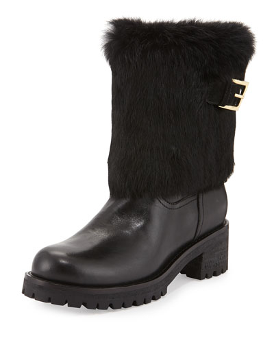 Joni Fur-Cuff Moto Boot, Black