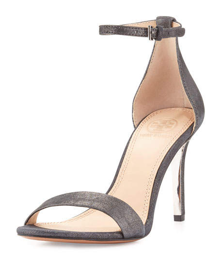 Tory Burch Classic Ankle-Strap Glitter Suede Sandal, Anthracite
