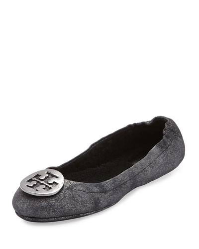 Reva Travel Logo Ballet Flat, Black/Pewter
