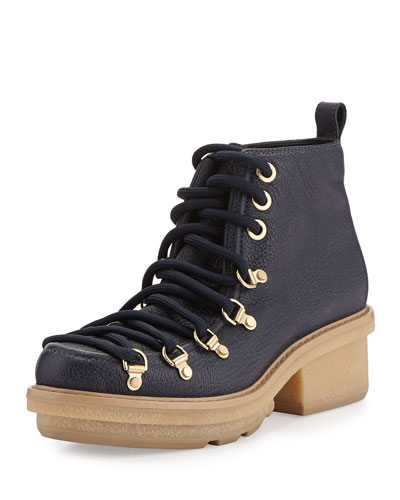 Mallory Short Lace-Up Boot, Navy
