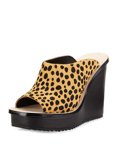Ingrid Calf-Hair Wedge Slide, Cheetah/Black