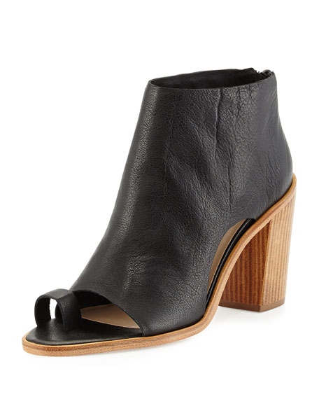 Loeffler Randall Gigi Leather Toe-Ring Bootie, Black