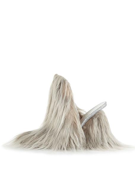 Faux-Fur Mule Pump, Gray