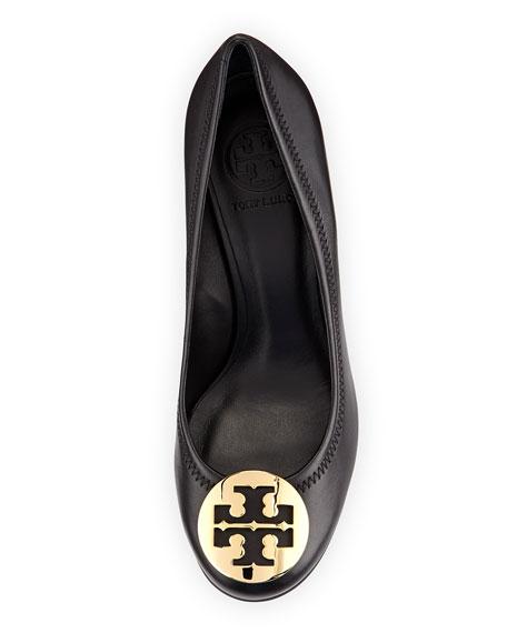 Sally Logo Wedge Pump, Black/Gold