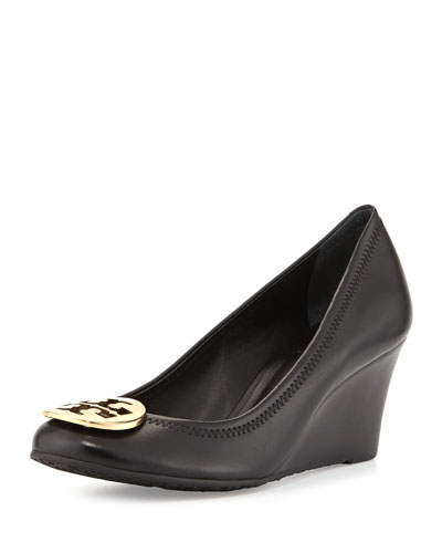 Sally Logo Wedge Pump, Black