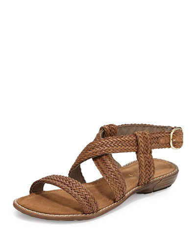 Basket Weave Strappy Sandal, Tan