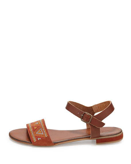 Carlie Embroidered Sandal, Rust