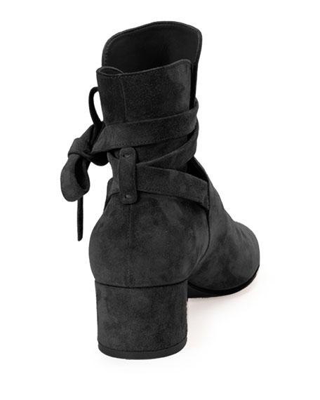 Suede Ankle-Tie Bootie, Black