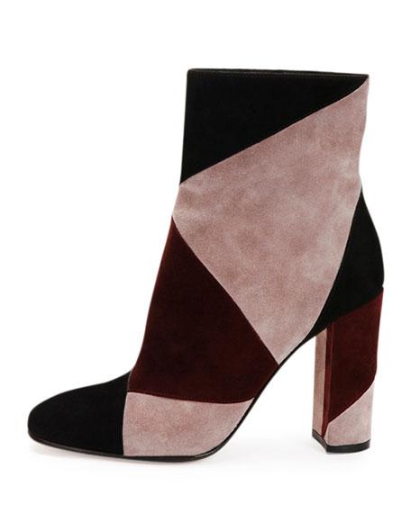 Patchwork Suede High-Heel Boot, Black/Royal/Rosie