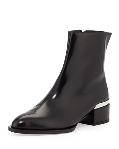 Yasmin Metallic-Heel Ankle Boot