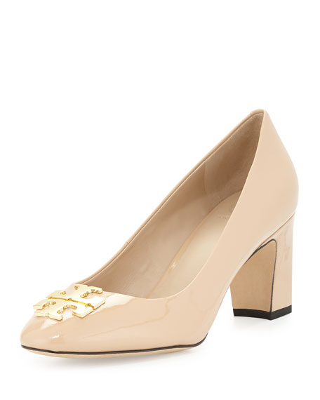 Tory Burch Raleigh Logo Leather Pump, Nude