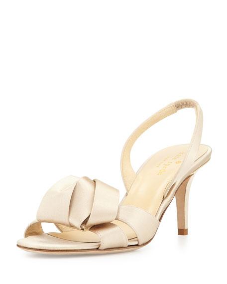 kate spade new york madison satin slingback sandal, champagne