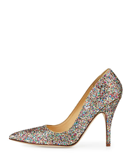 licorice too glitter point-toe pumps