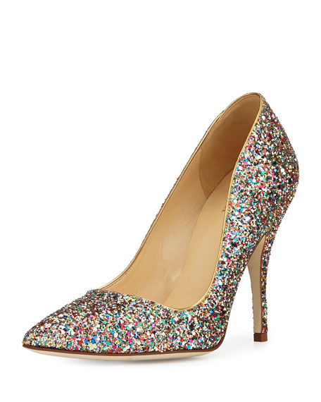 licorice too glitter point-toe pump
