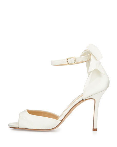 izzie bow-back satin d'orsay pumps, ivory