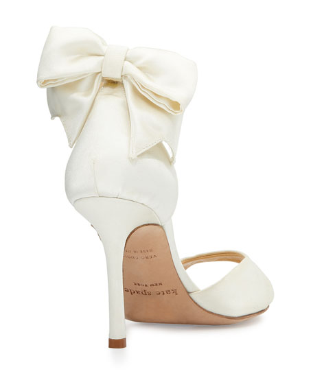 izzie bow-back satin d'orsay pumps, ivory