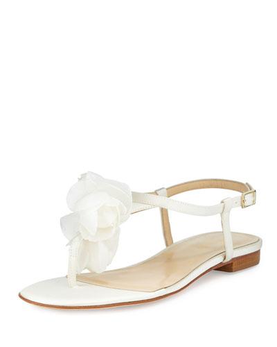 fella floral t-strap sandal, ivory