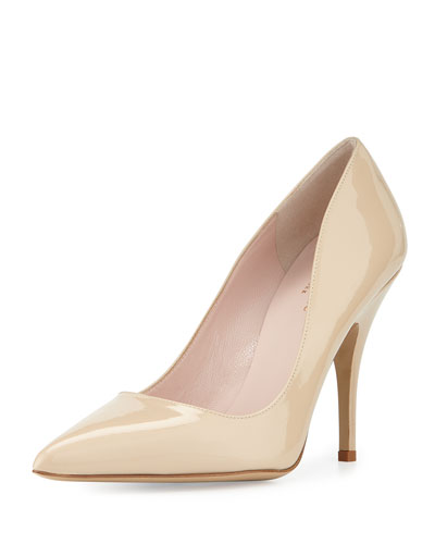 licorice patent leather point-toe pump, powder