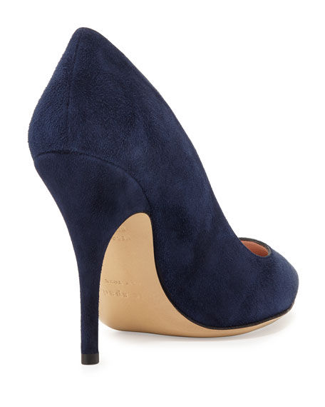 licorice suede pointed-toe pump, navy