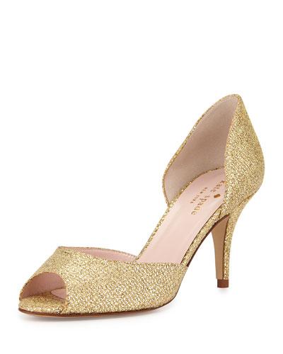sage glitter peep-toe pump, gold