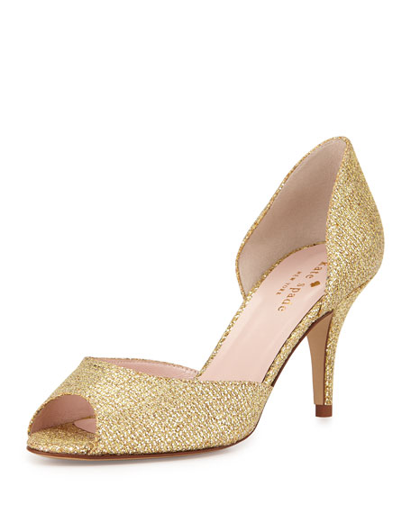 kate spade new york sage glitter peep-toe pump,