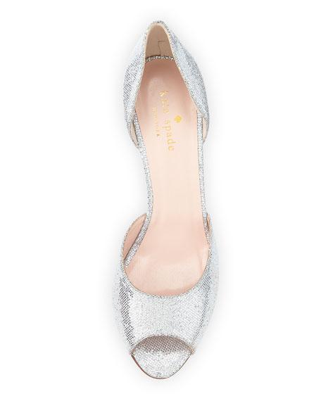 sage glitter d'orsay pump, silver