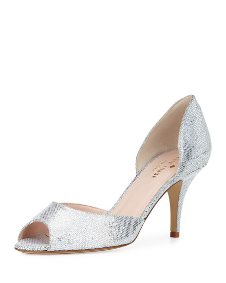 kate spade new yorksage glitter d'orsay pump, silver