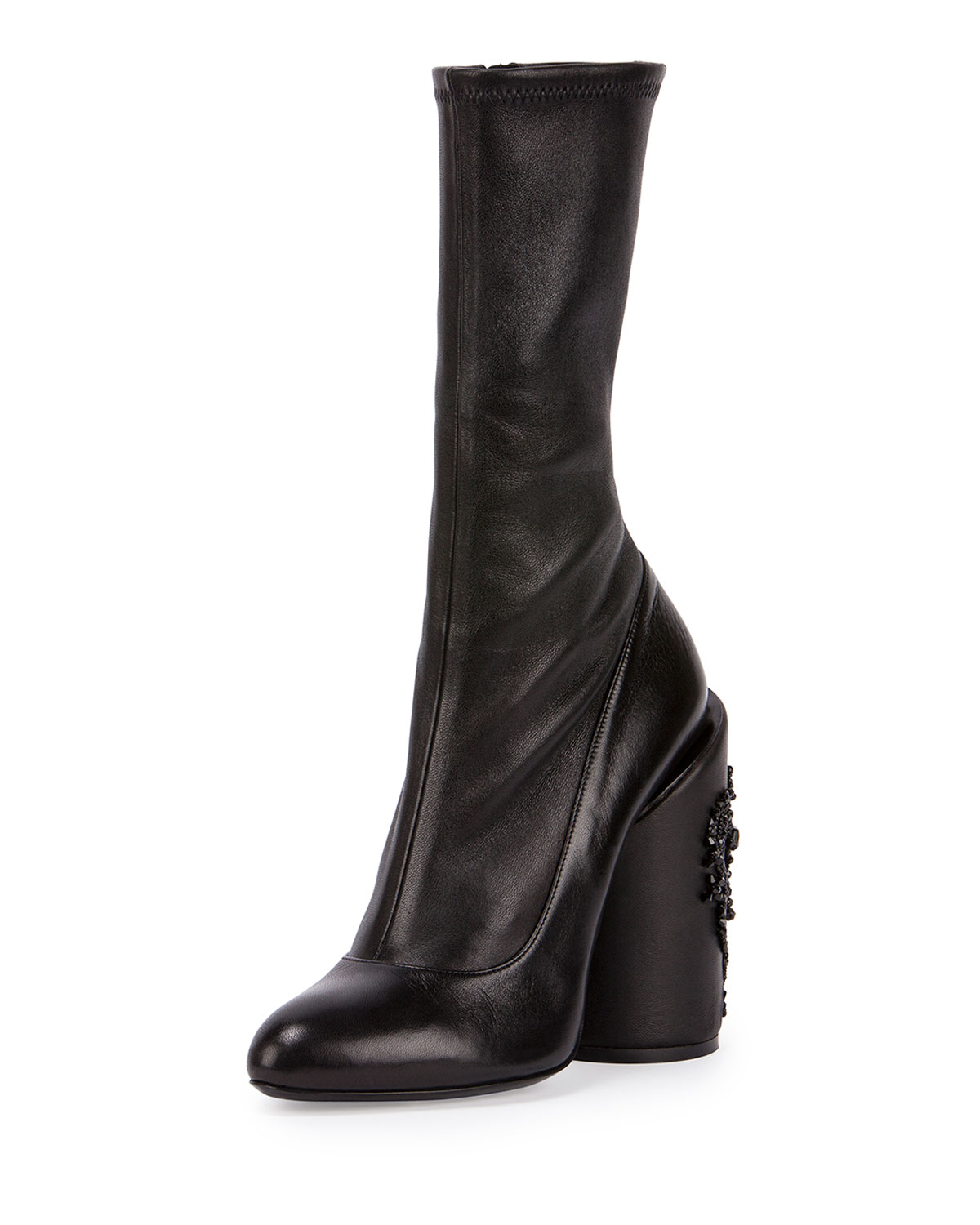 dcfc78c9f251 Givenchy Leather Embroidered-Heel Show Boot