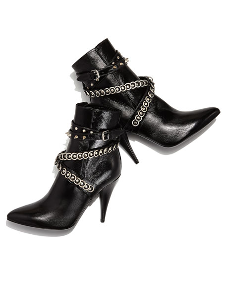 ysl purses on sale - Saint Laurent Chain-Wrapped Tumbled Leather Boot, Black