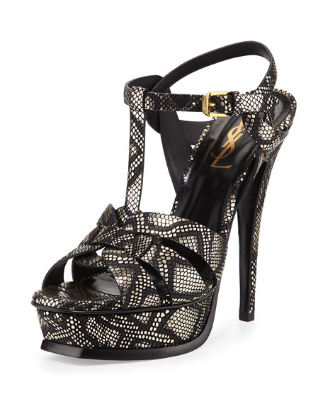 Saint Laurent Tribute Metallic Python-Print Sandal, Black/Platino