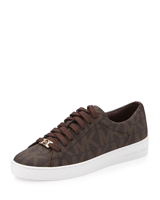 2d29bd7ec8a MICHAEL Michael Kors Keaton Logo PVC Sneaker, Brown | Neiman Marcus