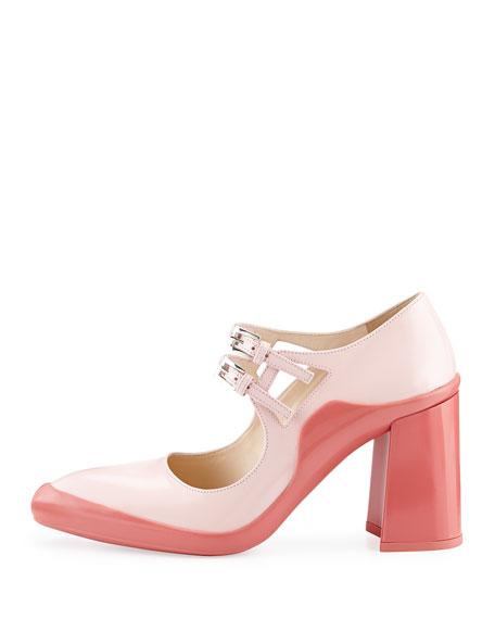 Double-Buckle Mary Jane Pump, Pink/Geranium (Hidea+Geranio)