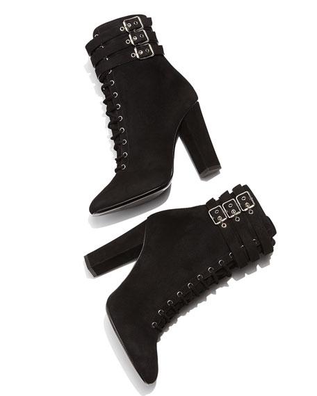 Suede Lace-Up High-Heel Bootie, Black (Nero)