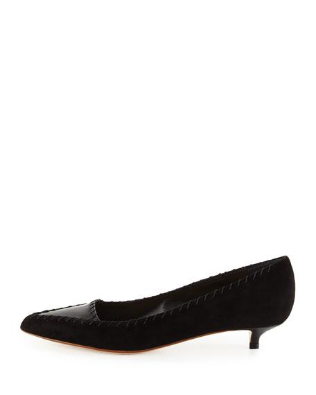 Suede Kitten-Heel Pump, Black (Nero)