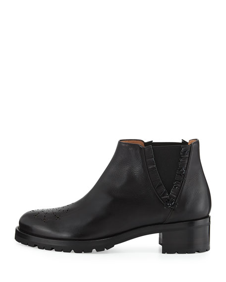 Tibi Leather Chelsea Boot, Black
